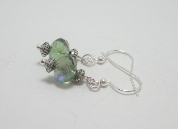 Peridot AB Czech Glass Bead Earrings