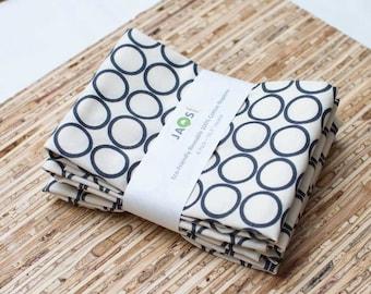Large Cloth Napkins - Set of 4 - (N859) - Pewter Gray Circle Modern Reusable Fabric Napkins