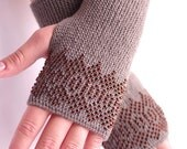 Soft grey wool blend beaded fingerless gloves with brown glass beads - READY to ship