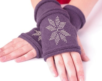 Very soft and cozy wool blend beaded fingerless gloves, wrist warmers, hand knitted mittens in dark purple - READY ship