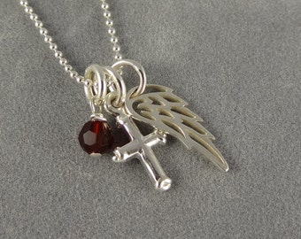 Sterling Angel Wing Necklace with Cross Charm - Custom Swarovski Birthstone - Faith - Protection - First Communion