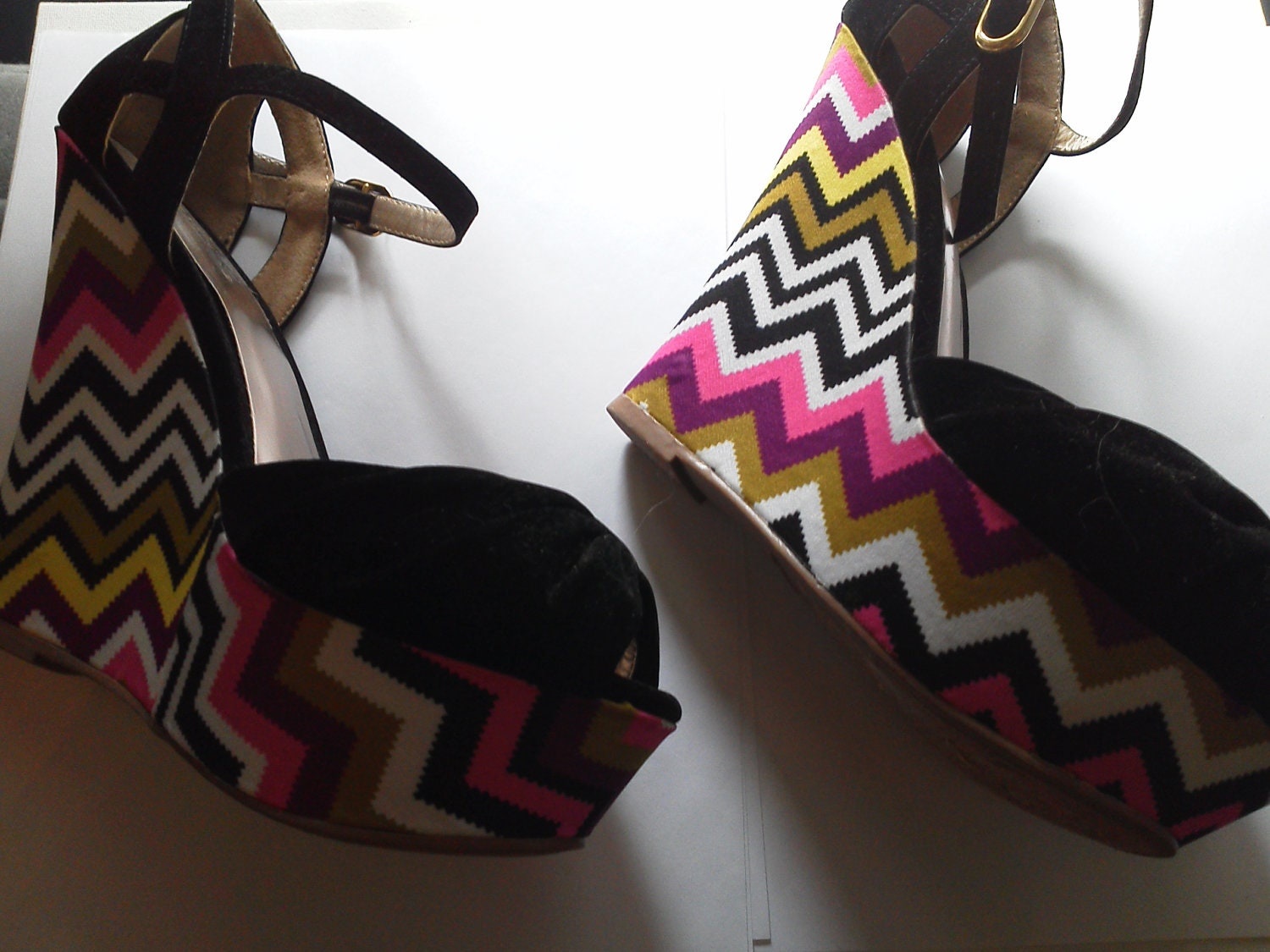 funky mod multicolor wedge shoes by lauragnyc on etsy