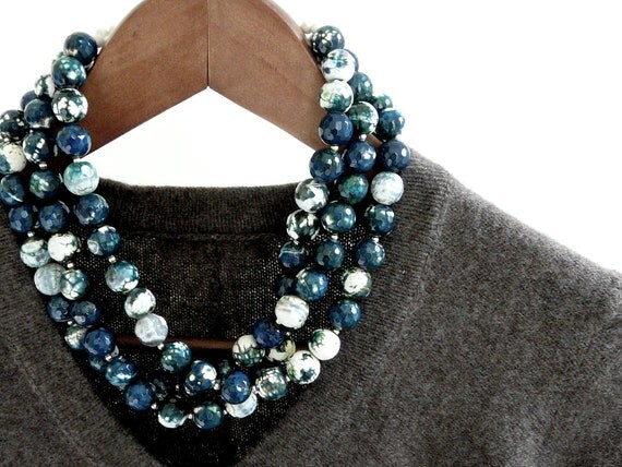 DEEP. autumn teal necklace with three strands of faceted agate in green, teal and white with sterling silver