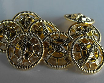 24 Gold Wheel Shank Round Buttons Size 9/16""