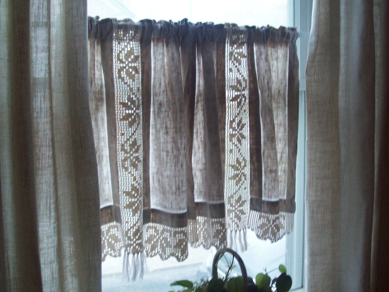 vintage linen curtains hand crocheted cotton by TheGirlyCottage