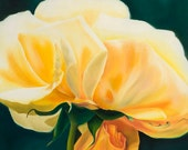 Print oil Painting Yellow Rose -Gift of the Rose Collection- Open Edition-Tenderness- 16x20