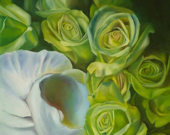 Painting Reproduction-Green Roses -Gift of the Rose Collection- Open Edition-fertility- 20x16
