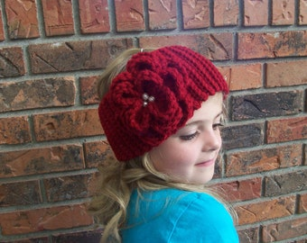 Crochet Ribbing Style Headband W/Flower Pin-Button Closure-Cranberry