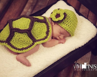 Crochet Turtle Shell & Hat-Beanie-Flower-Infant Photography Prop-Baby BoysTurtle Set-Baby Girls Turtle Outfit- W/Detachable Flower Pin