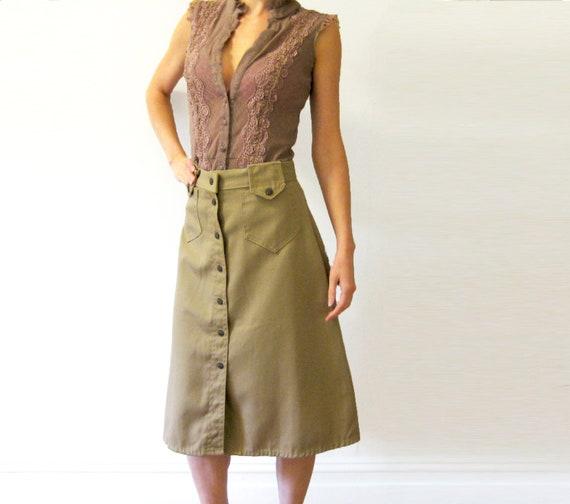 Button Front Skirt with cute Front Pockets, KHAKI SKIRT, Button down skirt, denim skirt