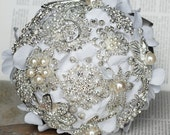 Vintage Bridal Brooch Bouquet - Pearl Rhinestone Crystal - Silver White Grey - One Day RUSH ORDER Available - BB020LX