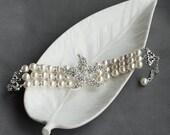 Bridal Pearl Rhinestone Bracelet Triple Strand STARFISH Crystal Beach Wedding Jewelry White Ivory Teal BL041LX