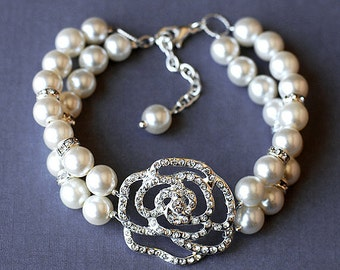 SALE Bridal Pearl Rhinestone Bracelet Double Strand Rose Crystal Wedding Jewelry BL008LX