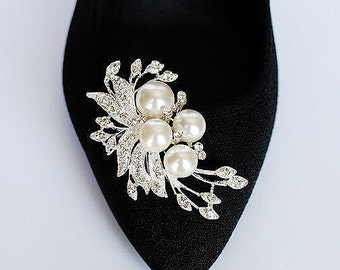Bridal Shoe Clips Pearl Crystal Rhinestone Shoe Clips Wedding Party (Set of 2) BELLINI Collection SC020LX
