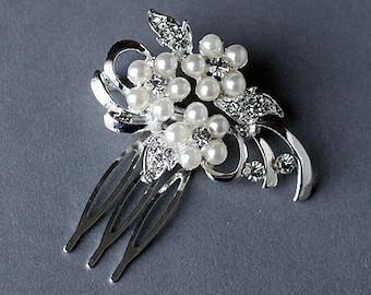 Rhinestone and Pearl Bridal Hair Comb Wedding Jewelry Crystal Flower Side Tiara CM040LX