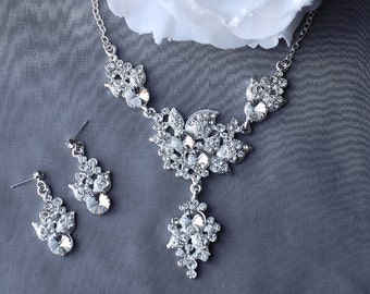 SALE Bridal Pearl Rhinestone Necklace Earrings Set Crystal Wedding Jewelry NK049LX