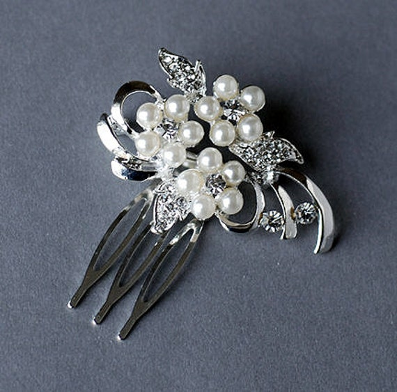 Rhinestone and Pearl Bridal Hair Comb Wedding Jewelry Crystal Flower Side Tiara CM040LX