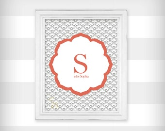 Personalized Initial and Name Nursery Art Print - Coral and Gray - Select your size