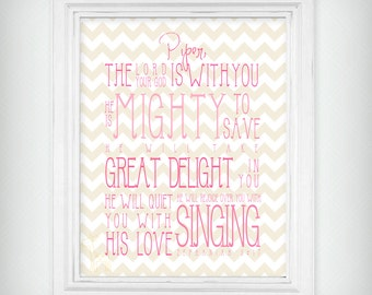 "Personalized ""He Is Mighty To Save"" Scripture Verse Art Print Zeph 3:17 - Pink and Tan - Select your size"