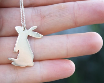 bunny pendant curious rabbit necklace sterling silver bunnies jewelry