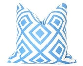 David Hicks La Fiorentina - 11x19 Designer Pillow Cover - Blue & Ivory colorway (single-sided)