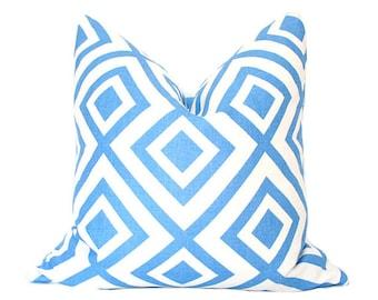David Hicks La Fiorentina - 16x16 Designer Pillow Cover - Blue & Ivory colorway (single-sided)