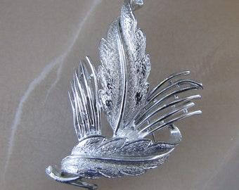 Vintage Silver Leaf Brooch