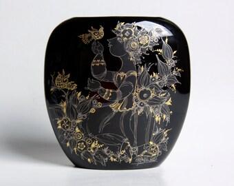 Amazing Large Vintage Black Noir Porcelain Vase - Bjorn Wiinblad Rosenthal Studio Linie