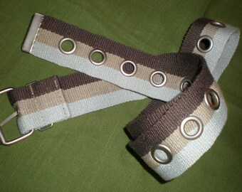 Fabric Belt -Striped Webbing Mod 3 Tone Troop Style Vintage Woven Belt Traditional Buckle