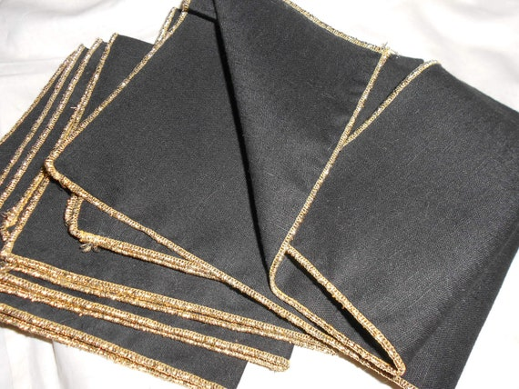 Cocktail Napkins Black Cloth With Gold Lame Trim Sexy