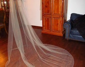 Wedding Veil Cathedral Length Ivory Tulle with Swaroski Crystals