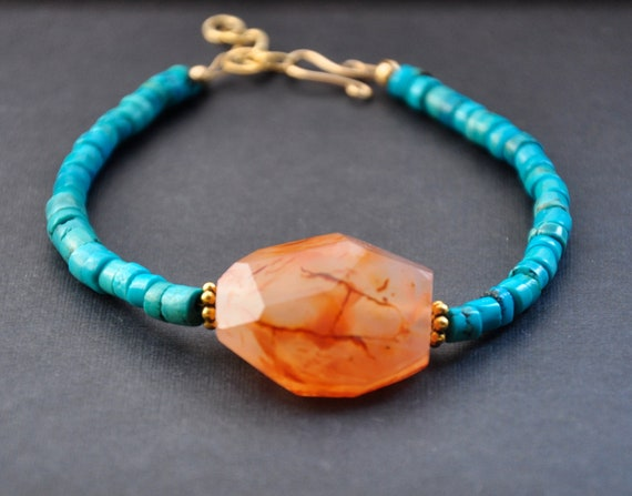 Turquoise Agate Bracelet, Orange Blue Gemstones, Gold Fill Bracelets, Vermeil Handmade Jewelry