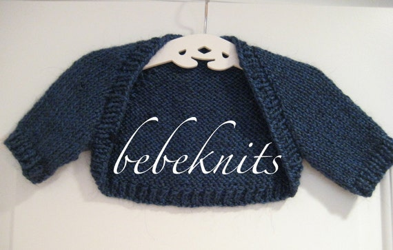 Hand Knit Peacock Blue Baby Bolero