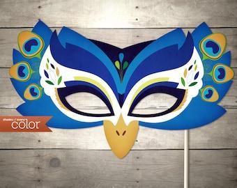 DIY Printable Peacock Mask - Birthdays, Halloween, masquerade ball, mardi gras, and weddings