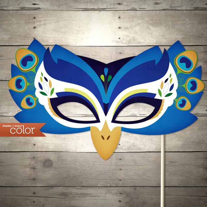 DIY Printable Peacock Mask Birthdays Halloween masquerade