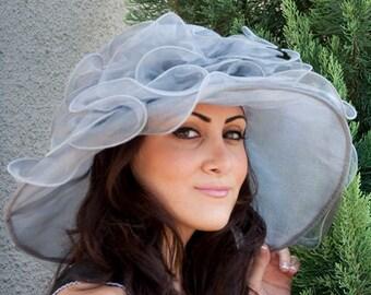 "Gray Sun Hat - ""ISABELLA"" Gray Crystal Organza Hat w Organza Trim"