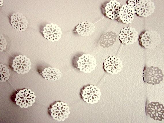 Wedding Garland - Vintage Garland - Wedding Decoration - White Paper Flower Garland