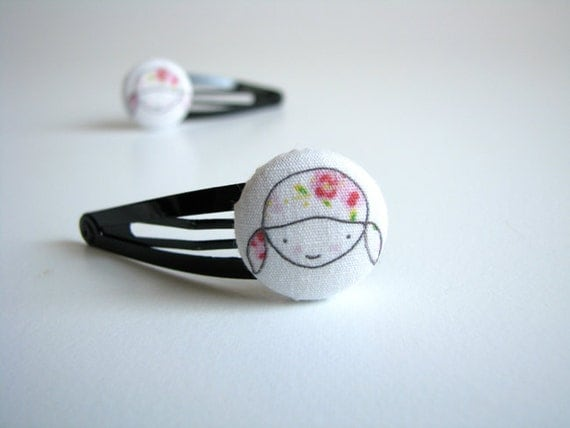 Girls hair clips, button snap clips, Girly