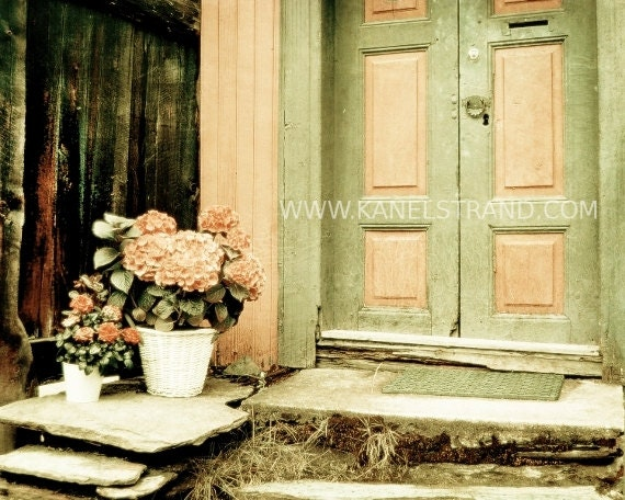Pastel Colored Doorstep in Old Norway - Shabby Chic Decor - Fine Art Photography 8x10