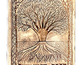 Tree of Life - ancient like coloring judaica wall plaque