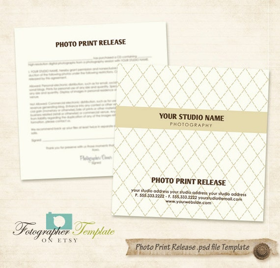 Photo Print Release Form Template Cd Dvd Photography Forms