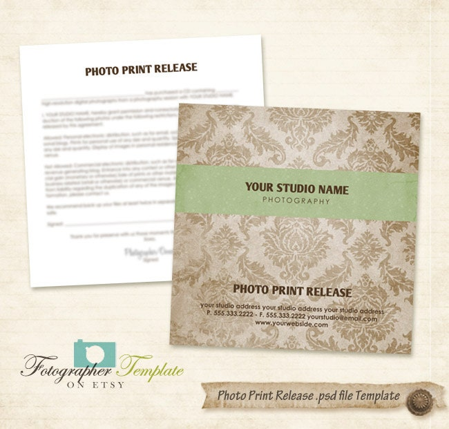 Photo Print Release Form Template Damask Cd Dvd Photography