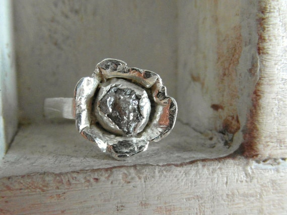 Raw Rough Diamond - flower- promise ring hand hammered-recycled silver