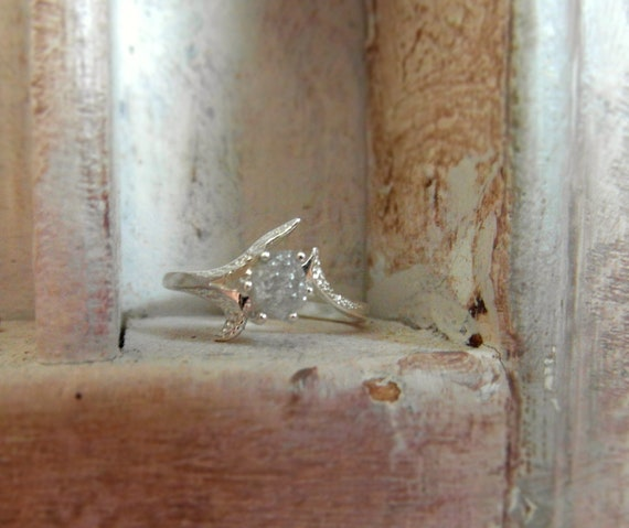 Raw Rough Diamond - Solitaire- promise-one of a kind engagement ring