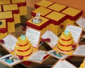 Yellow, Red, Aqua Green, Turquoise Color Combo, Beauty& The Beast Theme Custom Exploding Box  Invitations