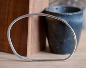 Silver Hammered Bangle -  Henry Moore - Large Bracelet Large Bangle -  Men's Bangle or Large woman's bangle - 22.5 cm circumfrence
