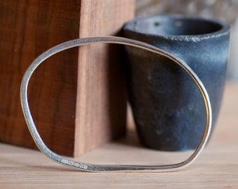 Hammered oval silver bangle -  Henry Moore inspired - Large Bracelet Bangle -  Men's Bangle or Large woman's bangle - 22.5 cm circumfrence