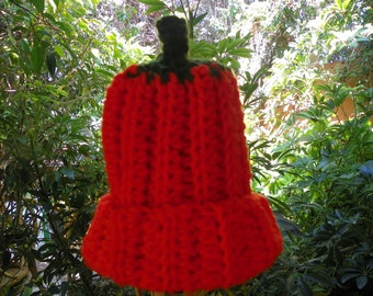 Pumpkin  Baby Hat  Bright Orange Baby Size 0-4M Hand Crochet