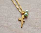 Bird in Flight Silhouette Gold Plated Charm Fresh Water Pearls Pearl Simple Minimal Mint Green