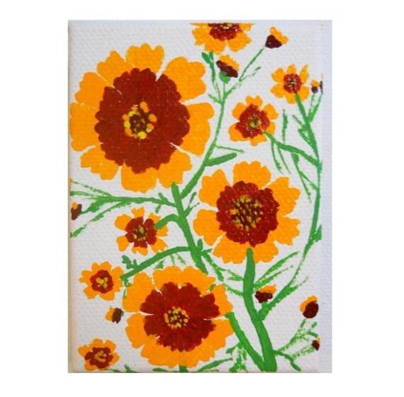 Yellow Flowers original mini painting